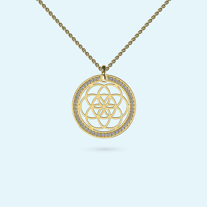 Diamond seed of life necklace surrounded by genuine diamonds