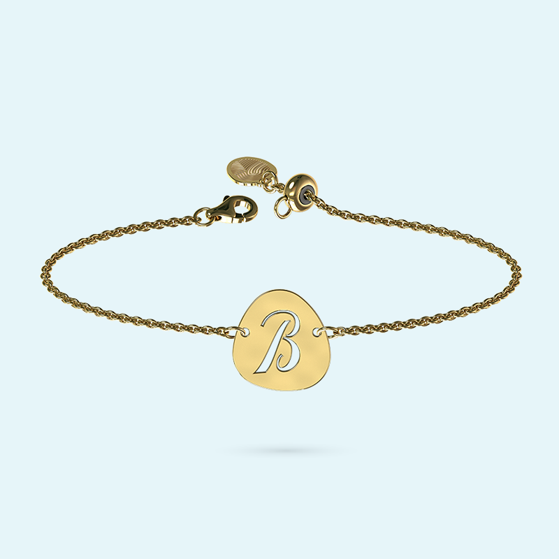 Yellow Gold Pebble Initial Bracelet