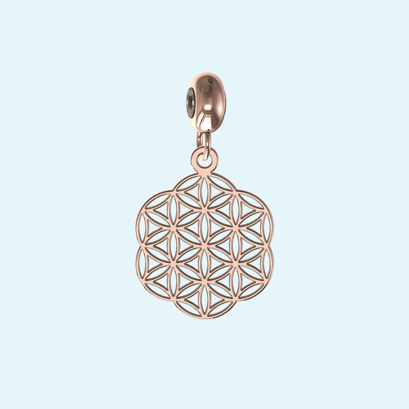 rose gold filigree seeds charm