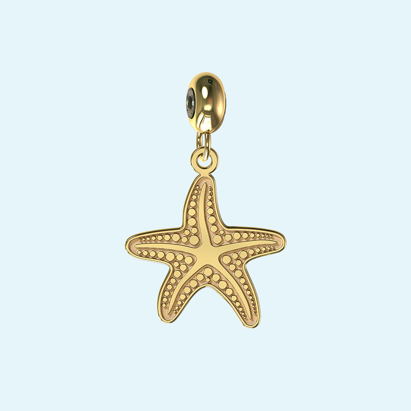 yellow gold starfish charm