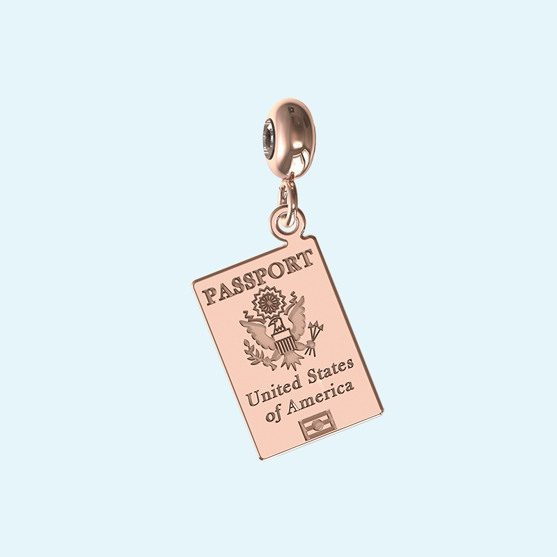 rose gold passport charm