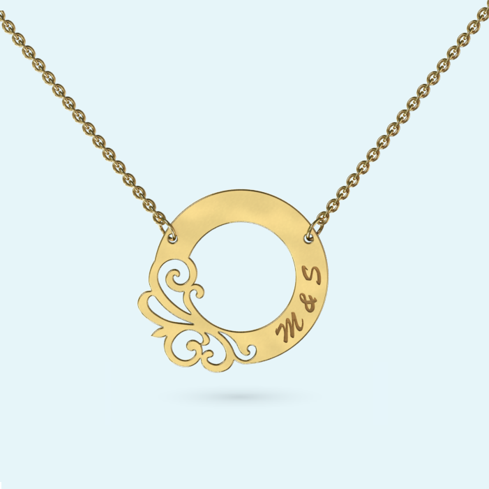 Designer circle necklace in solid gold