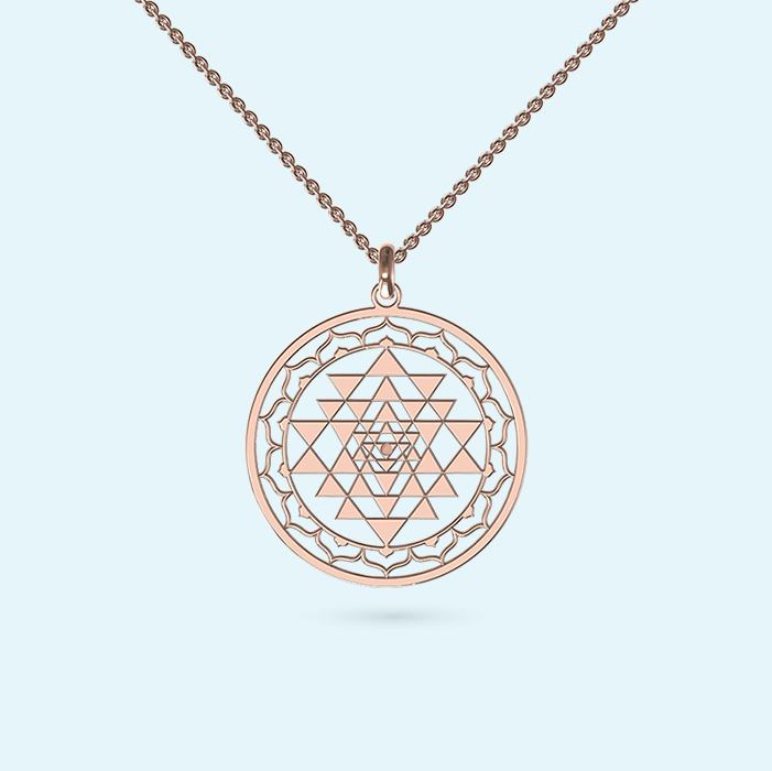 Sri Yantra Necklace in Rose Gold