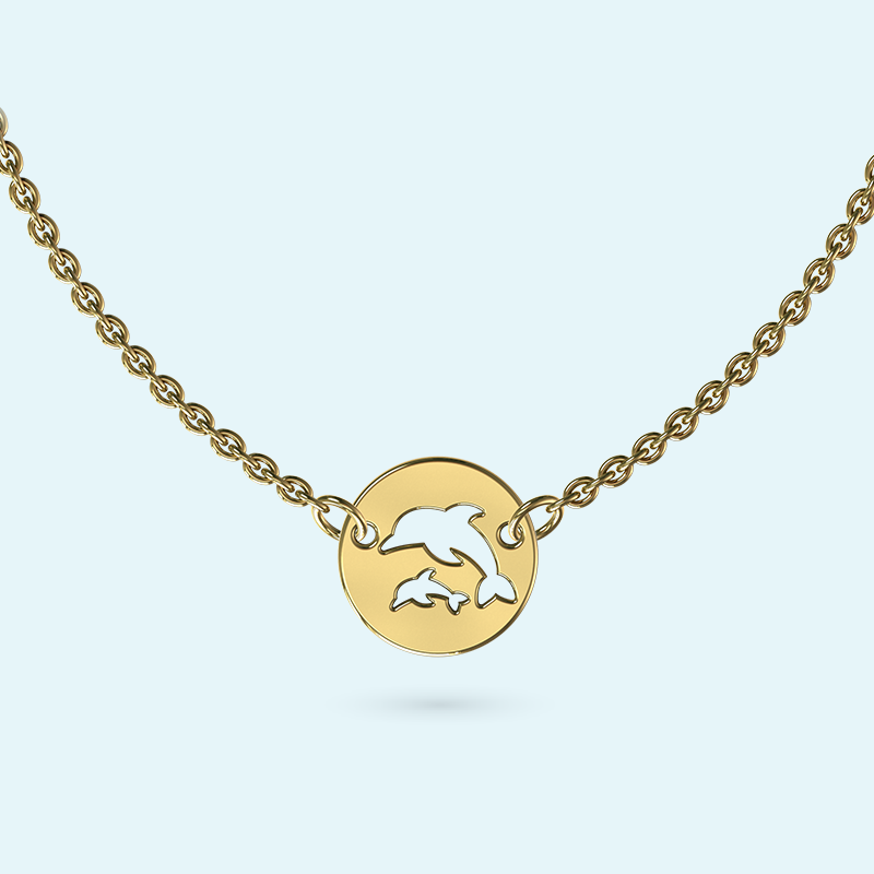 mini dolphins necklace