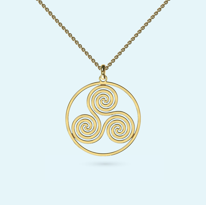 Wheel of life spiral necklace in yellow gold