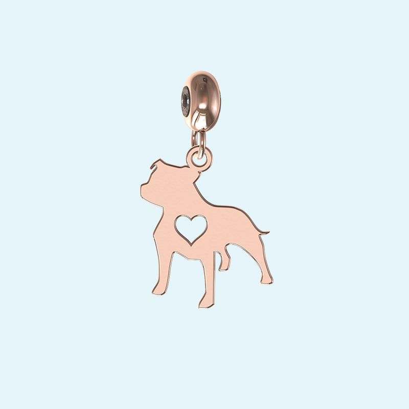 rose gold staffy charm