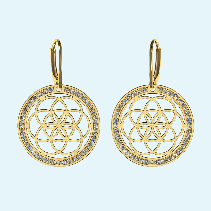 9k Gold seed of life earrings surrounded by hand set natural diamonds