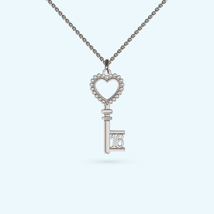 Heart Key Pendant with birthday