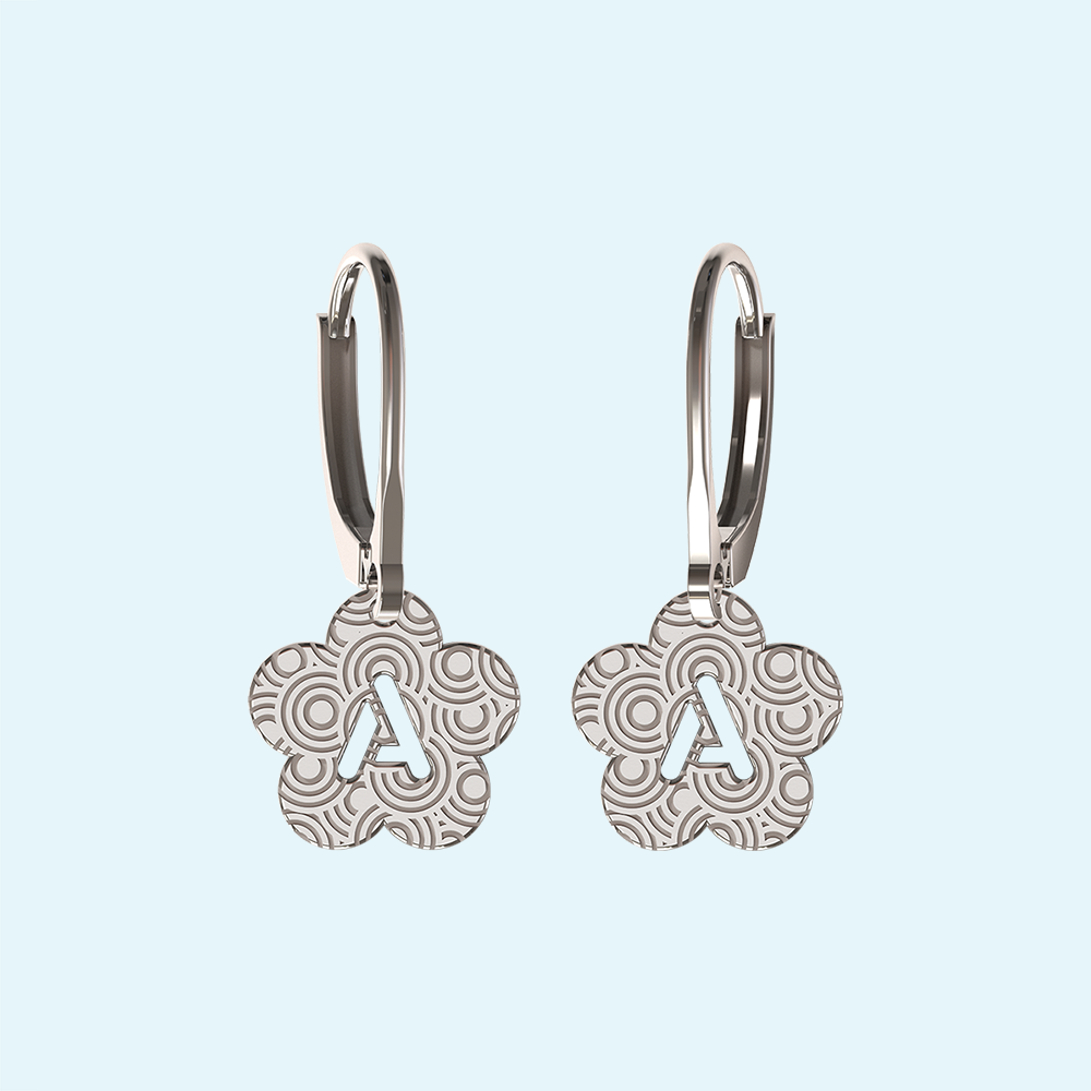 Personalised Flower initial earrings in sterling silver or solid gold