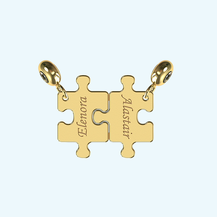 Breakable puzzle charm in solid gold