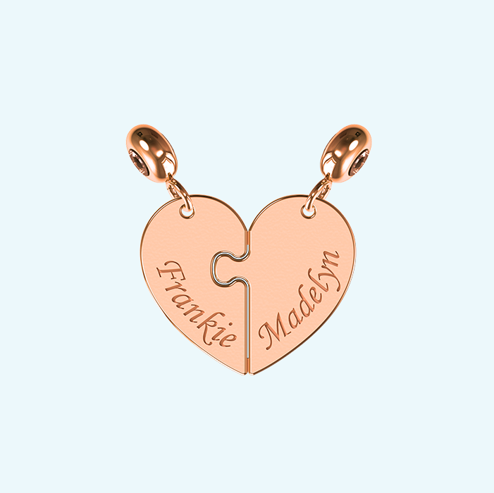 breakable two piece heart charm