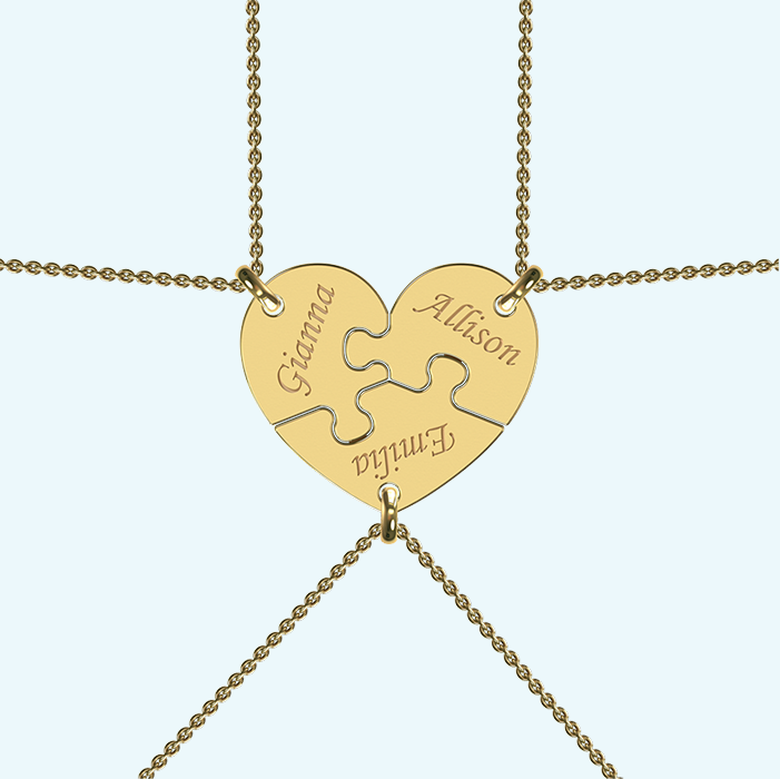 Breakable best friends heart necklace in solid gold