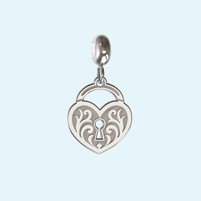 designer heart lock charm in sterling silver