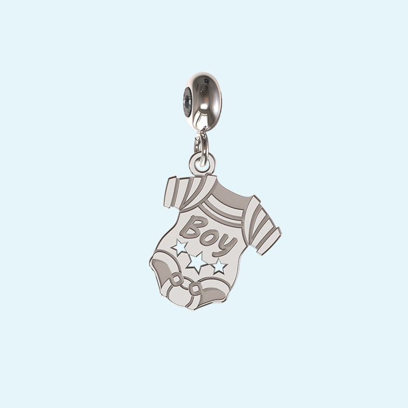 Baby boy charm in sterling silver
