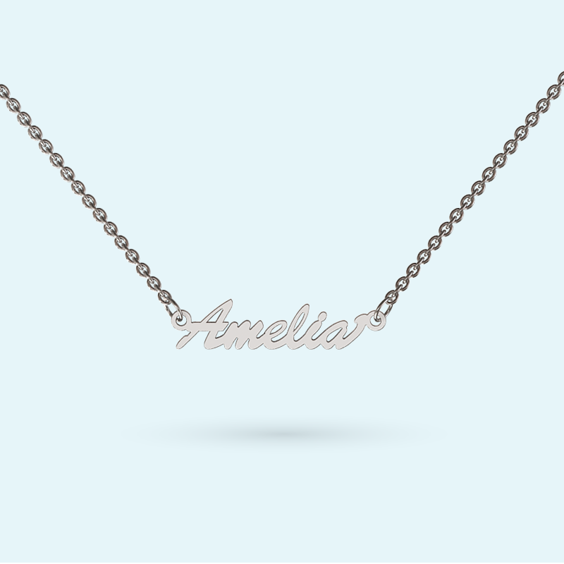 Petite name necklace in sterling silver