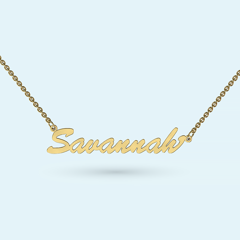 Classic name necklace in solid gold