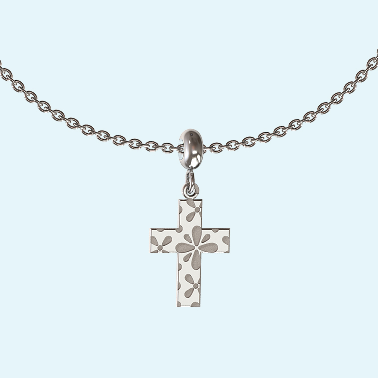Collectable Charm necklace with cross in sterling silver