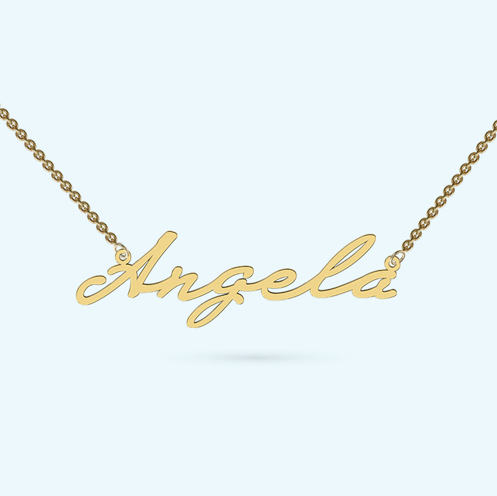 Signature name necklace in 9k gold