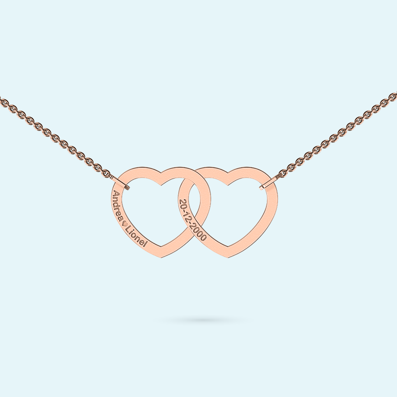 Interlocking unity necklace in rose gold with engraving