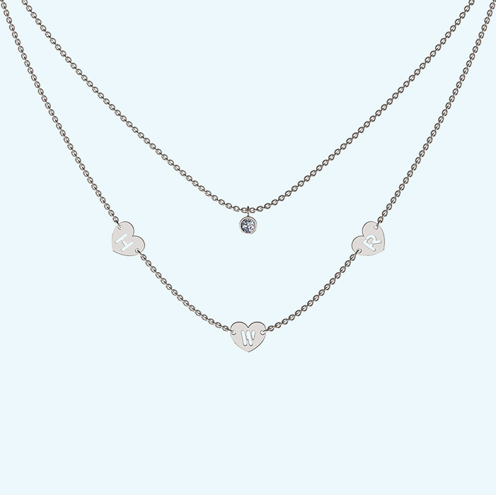 Layered diamond with initial hearts necklace in Sterling silver