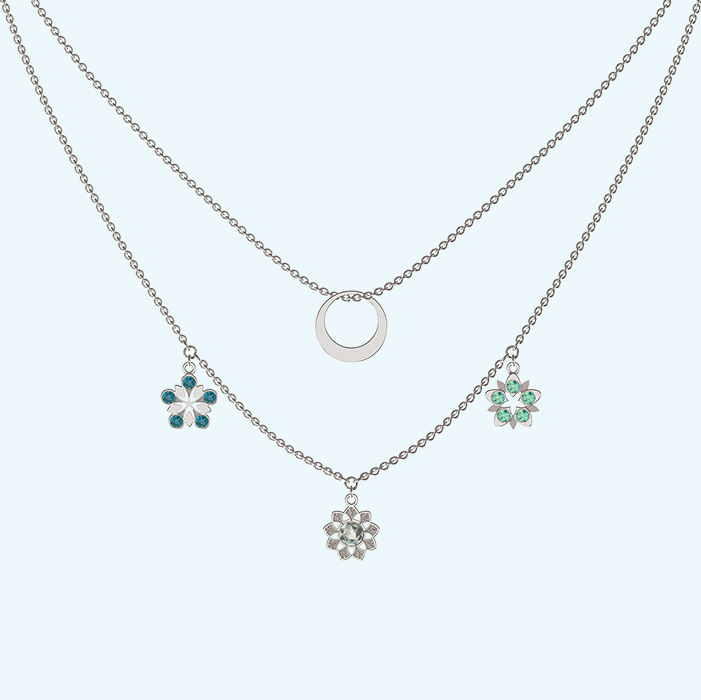 Layered charms and ring necklace in Sterling silver