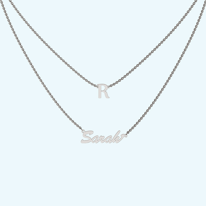 Layered initial and name necklace in Sterling silver