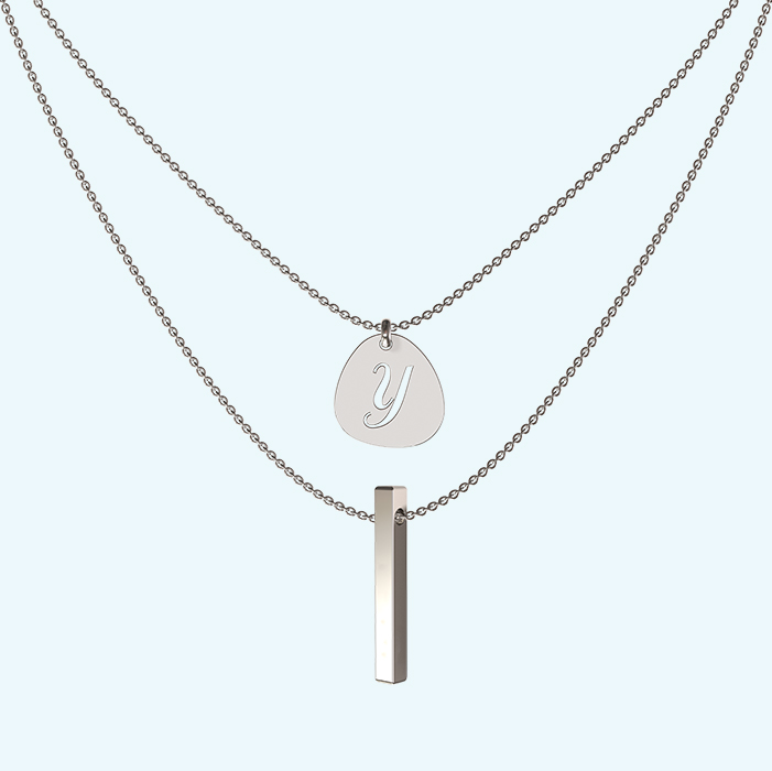 Sterling silver layered pendant and quattro bar necklace