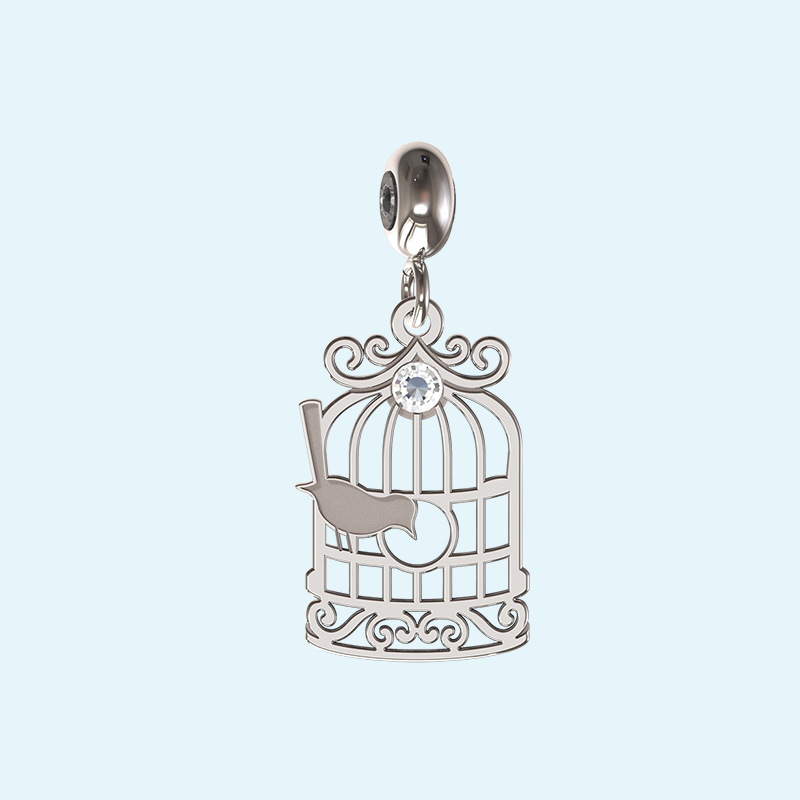 Sterling silver charm bird cage