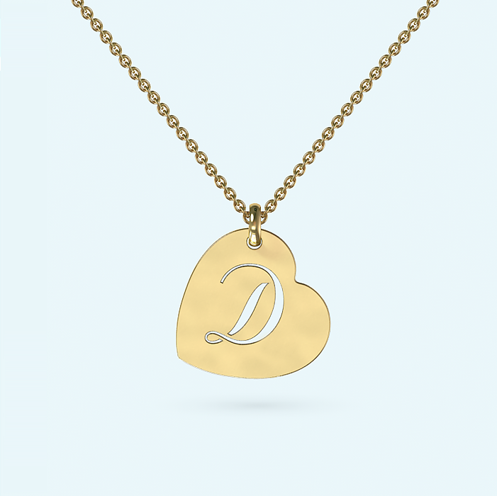 Gold Heart Initial Necklace