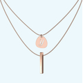 Layered pendant and drop bar necklace in solid gold