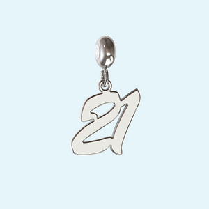 21st charm in sterling silver or solid gold