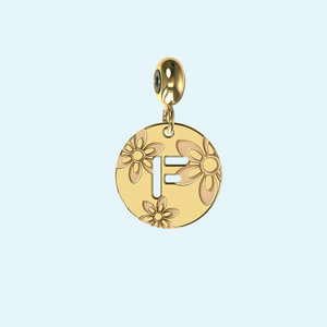 yellow gold retro letter a charm