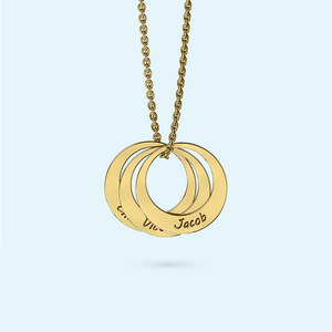 Multiple circles with names engraved on a necklace