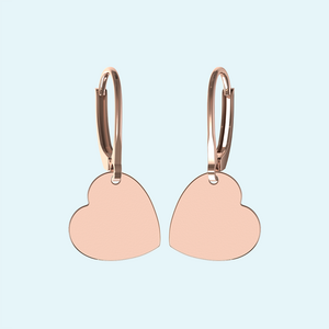 Personal Engraved heart earrings in Rose gold