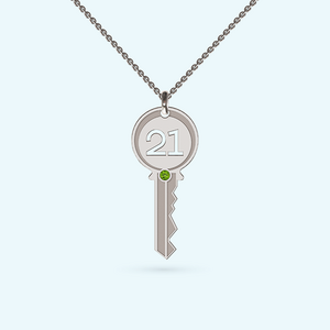 21st Key with August birthstone