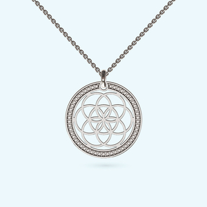 pave design seed of life necklace in sterling silver