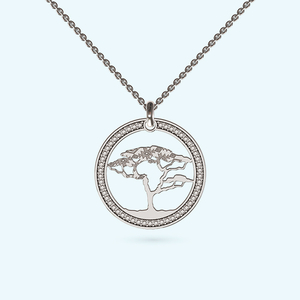 Like a diamond african tree of life necklace in sterling silver