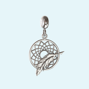 dream catcher charm in sterling silver