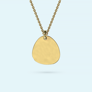 Solid gold pebble pendant on a necklace engraved with a graphic of your choice