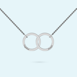 You and me interlocking ring necklace in sterling silver