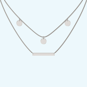 Layered dangle and bar necklace in sterling silver