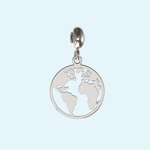 World map charm in sterling silver