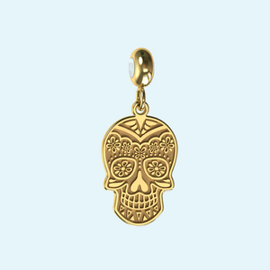 gold or sterling silver skull charm