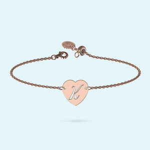 Rose Gold Heart Initial Bracelet